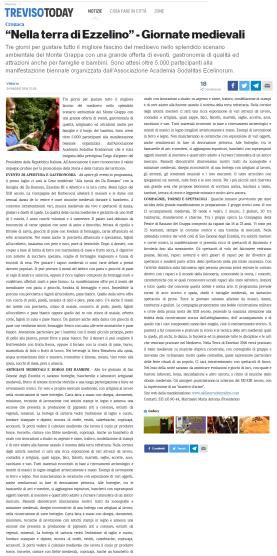 Treviso Today articolo 24 maggio 2016 - nella terra di ezzelino